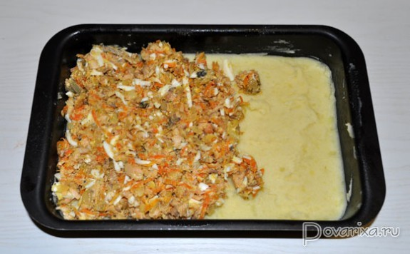 Рыбная запеканка с консервами в духовке рецепт с пошагово