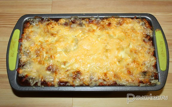 91Запеканка с мясом грибами картофель сыр