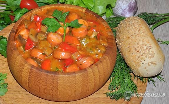 Как приготовить солянку из капусты и сосисок рецепт с