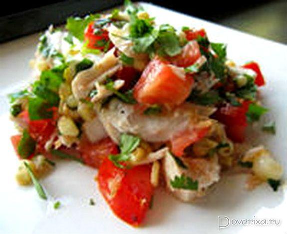 Салат с свежей красной рыбой рецепт с