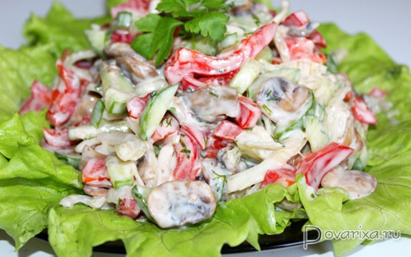 Шампиньоны с огурцом салат