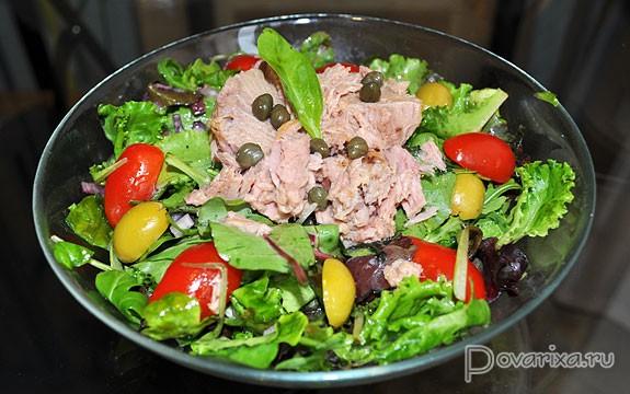 Зеленый салат с морепродуктами рецепт 35