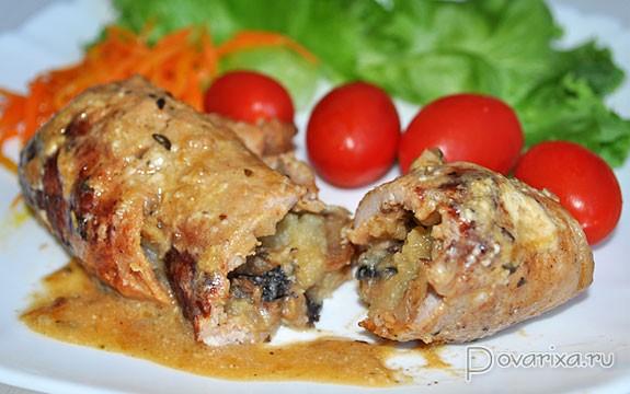 свиные рулетики с грибами в духовке рецепт с фото