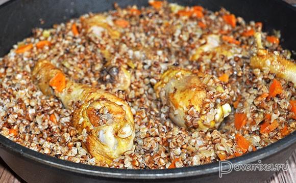 Тушеная гречка с курицей рецепт с пошагово в
