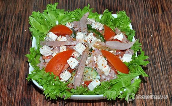 салат из картошки и курицы копченой