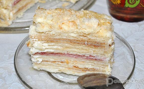 рецепт торт наполеон из слоеного тест