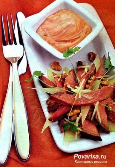 рецепт салата из говядины грибов