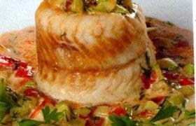 Стерлядь с овощами