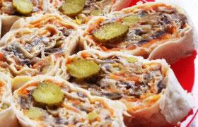 Рулеты из лаваша вегетарианские