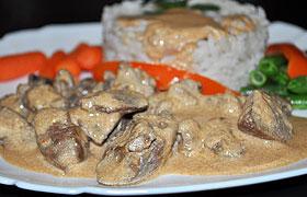 Куриные потрошки в соево-сливочном соусе