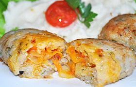 Рыбные котлеты с морковно-луковой начинкой