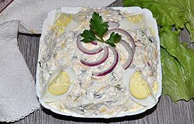 Салат из курицы с рисом и сыром
