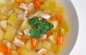 Овощной суп с луком-пореем