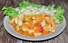 Мясо индейки в томатно-сырном соусе