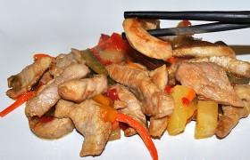 Свинина по-китайски с ананасом