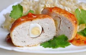 Куриные зразы с перепелиными яйцами