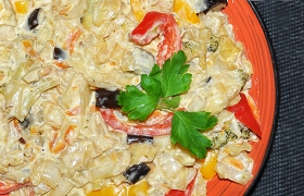 Овощное рагу в сливочном соусе
