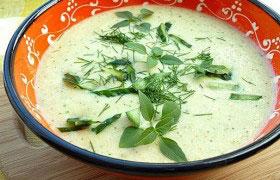 Суп-пюре из кабачков и зеленой фасоли