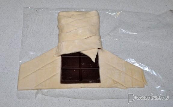Шоколад в слоеном тесте рецепт с фото