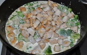 Добавляем обжаренные кубики индейки, заливаем сливками, посыпаем приправами. Под крышкой тушим до полной мягкости мяса (от 5-6 до 10-12 минут).