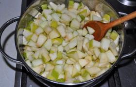 Плоды промываем и обсушиваем полотенцем. Кожицу счищаем или нет – кому как нравится, удаляем серединку. Нарезаем яблоки кубиком, складываем в ту кастрюлю, в которой будем их варить. Засыпаем сахар, сбрызгиваем лимонным соком и перемешиваем. Оставляем под крышкой часа на 2-3, пока появится сок.