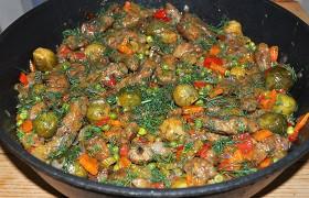 Рагу из печени с овощами