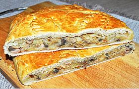 Пирог с картошкой, ветчиной и грибами