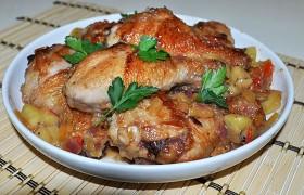 Жареная курица с киви