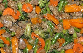 Рагу из куриной печени с овощами