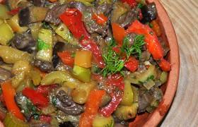 Рагу из куриных сердечек с овощами
