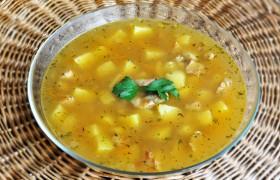 Суп со свиной поджаркой