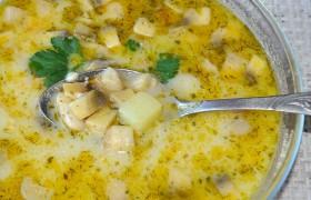 Сырный суп с фасолью и грибами