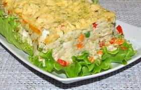 Запеканка из куриной грудки с овощами и рисом