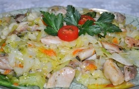 Курица с тремя сортами капусты